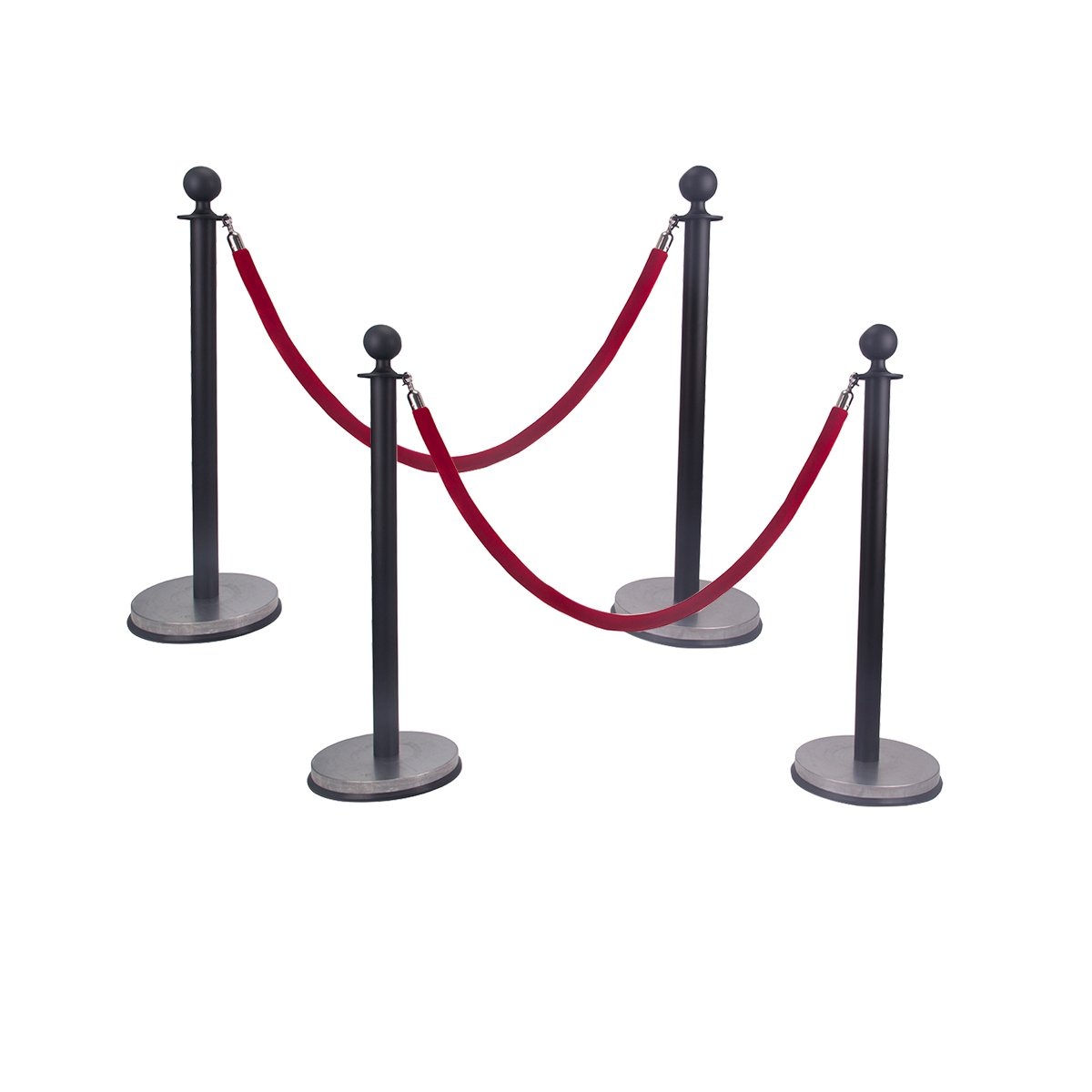 Comie Ball Top Stainless Steel Retractable Stanchion Posts with a Red Velvet Rope Black