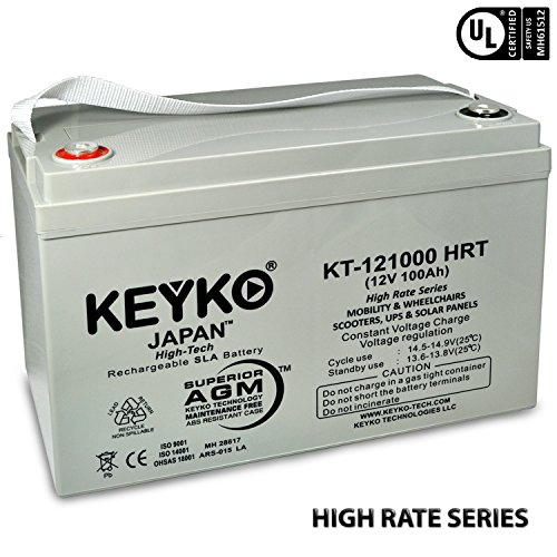 Canadian SOLAR PV Solar Panels 12V 100Ah Real 100 Amp AGM / SLA Deep Cycle Battery for Solar Winds Inverters Generators Genuine KEYKO - IT Terminal - T3