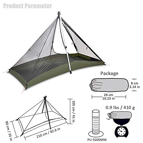 GEERTOP 1 Person 3 Season 20D Ultralight Backpacking Tent for Camping Hiking Climbing (Trekking Poles NOT Included)(Inner Tent is Green)