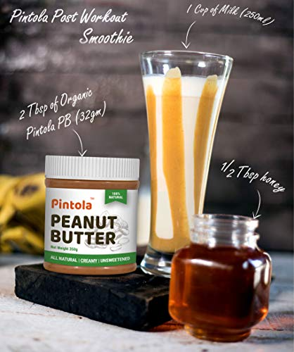 Pintola All Natural Peanut Butter (Crunchy) (1kg)   Unsweetened   30g Protein   Non GMO   Gluten Free   Vegan   Cholesterol Free 5