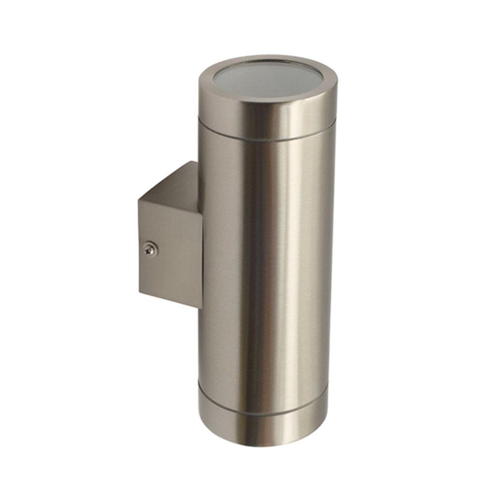Grafner® Edelstahl Außenleuchte Wandlampe Up and Down eckig Aussenlampe poliert 2x GU10