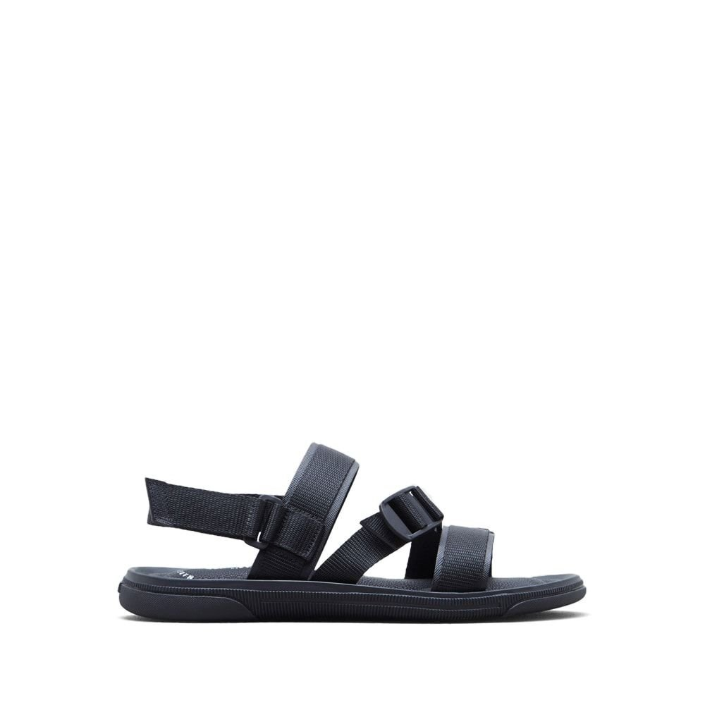 Kenneth Cole New York Men's Buckle up Flat Sandal, Black, 8 M US