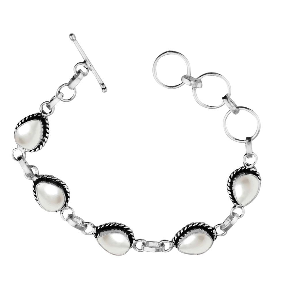 Sterling Silver Jewelry 11.00ctw,Genuine Pearl & 925 Silver Plated Bracelet Made