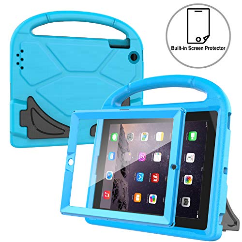 AVAWO Kids Case Built-in Screen Protector for iPad 2 3 4 (Old Model)- Shockproof Handle Stand Kids Friendly Compatible with iPad 2nd 3rd 4th Generation (Blue)