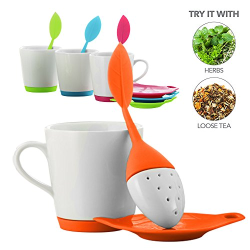 Teabloom LEAFI Ceramic Tea Mug with Leaf Shaped Tea Infuser and Tea Bag Tidy Set - 9oz. Mug – Silicone & Ceramic Loose Leaf Tea Infuser & Tea Bag Drip Tray Set in Shape of Leaf