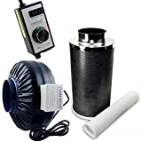 6 inch duct fan carbon filter - VenTech VT IF6+CF6-B Inline Exhaust Blower Fan with Carbon Filter and Variable Speed Controller, 440 CFM, 6