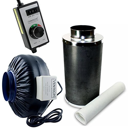 VenTech VT IF6+CF6-B Inline Exhaust Blower Fan with Carbo...