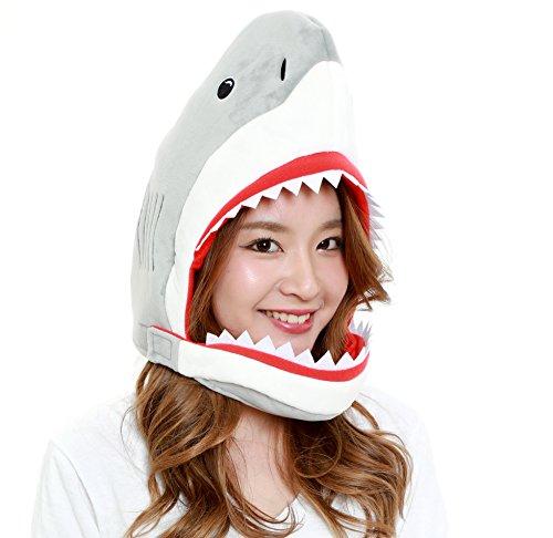 CLEVER IDIOTS INC Animal Head Mask - Plush Costume Halloween Parties & Cosplay (Shark)]()