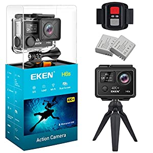 EKEN H6s Native 4K+ Action Camera Ultra HD 14MP with EIS 100ft Underwater Waterproof Cam Remote Sports Camcorder Panasonic Sensor 170° Angle Lens with 2 Batteries Accessories Kit and Tripod