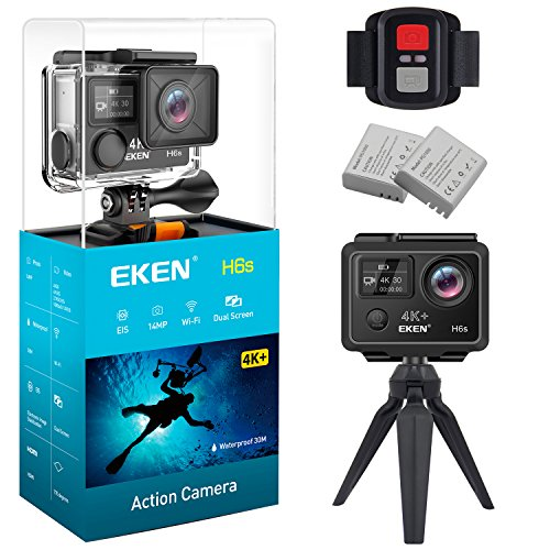 EKEN H6s Ultra HD Action Camera 4K+ 14MP with EIS 100ft Underwater Waterproof Cam Remote Sports Camcorder Panasonic Sensor 170 Angle Lens with 2 Batteries Accessories Kit and Tripod