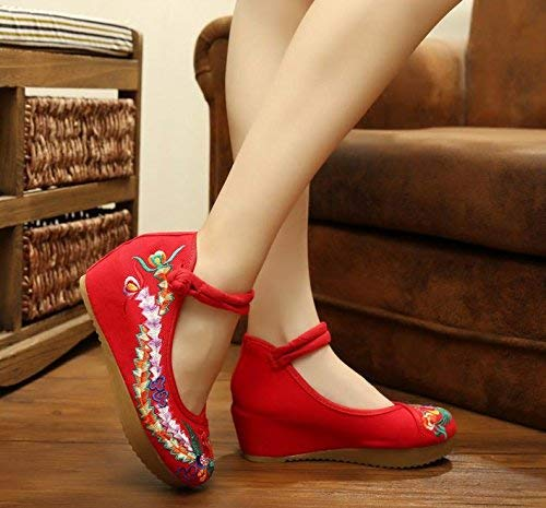 Suola Ricamate Scarpe Femminili Moda 39 Dimensione Più A Comodo Forti Stile Tendine Etnico Casual Lino Rosso Eeayyygch colore dCt5qwC