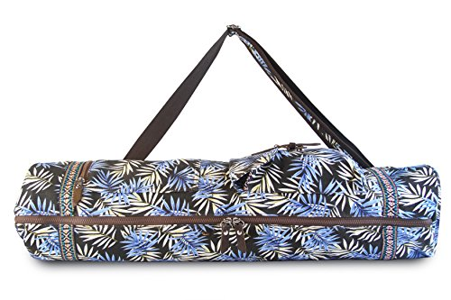 SukhaMat - Large Yoga Mat Bag Carrier with 3 Storage Pockets, Air-Vents and Adjustable Shoulder Strap Heavy Duty & Machine Washable - Fits Most Yoga Mat Sizes