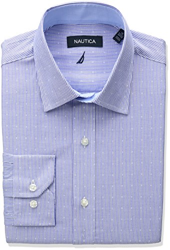 Nautica Men's Regular Fit Stripe Dobby Dress Shirt, Blue, 17