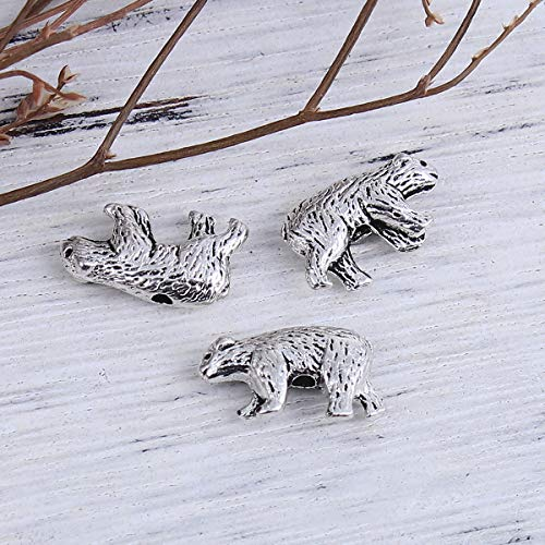 """PEPPERLONELY 50pc Antiqued Silver Alloy Bear Animal Charms Pendants 16mm x10mm(5/8"""" x 3/8"""")"""