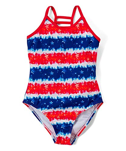 Girls Lattice Beach Sport One Piece Swimsuit UPF 50+ Sun Protection Caged Back (A-Americana, 14/16)