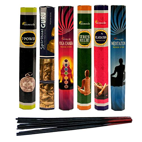 (Aromatika Best Seller Hexa Combo Pack 'C' (6 Boxes X 20 Sticks=120 Sticks) Incense Sticks Spiritual Guru,Yoga Chakra,7 Power,Stress Relief,Meditation,Relaxation )