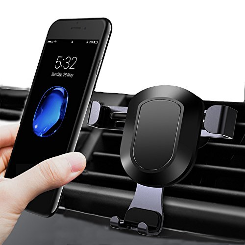 CROANIA Universal Smartphones Car Air Vent Mount Holder Cradle Compatible with iPhone X /8/8 Plus/7/ 7 Plus SE 6s 6 Plus 6 5s 5 4s 4 Samsung Galaxy S6 S5 S4 LG Nexus Sony Nokia and More (Black)