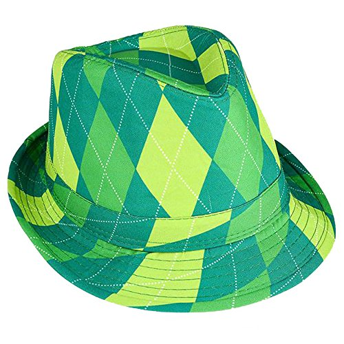 (RINCO ST. Patrick's Day Irish Kelly Neon Crazy Green Shamrock Fedora Hat (Green)
