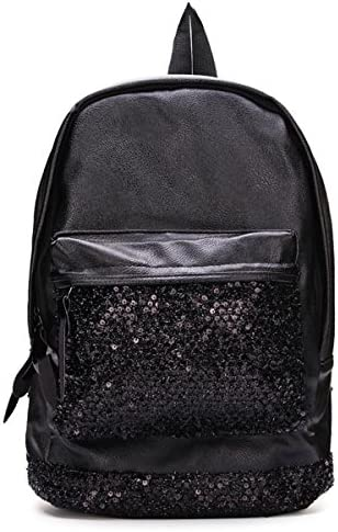 JXHJQY Fashion PU Leather Black Sequined Decorated Backpack Travel Bag Color : Black
