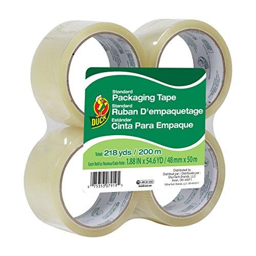 Duck Brand Standard Grade Packaging Tape, 1.88-Inch x 54.6 Yards, 4 Rolls per Pack, Clear (240238)