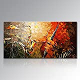 Everfun Art Large Hand Painted Oil Painting Modern Music Instrument Wall Art Abstract Artwork Wall Decor Home Decor