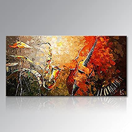Everfun Art Hand Painted Oil Painting on Canvas Music Instrument Large Wall Art Decor Modern Abstract & Amazon.com: Everfun Art Hand Painted Oil Painting on Canvas Music ...