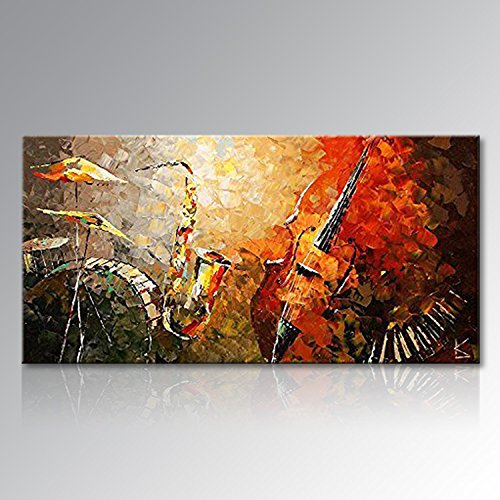 Everfun Art Hand Painted Abstract Canvas Wall Art Ready to Hang Music Instrument Modern Oil Painting Contemporary Artwork Stretched (Framed 6030 (Art Oil Painting Contemporary Seascape)