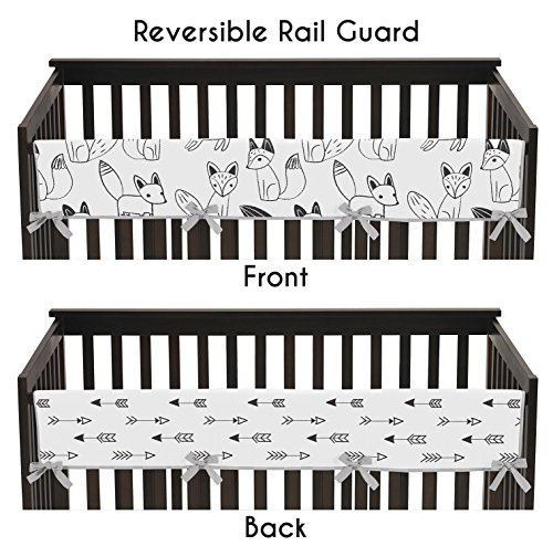 Sweet Jojo Designs Grey, Black and White Fox and Arrow Long Front Rail Guard Baby Teething Cover Crib Protector Wrap