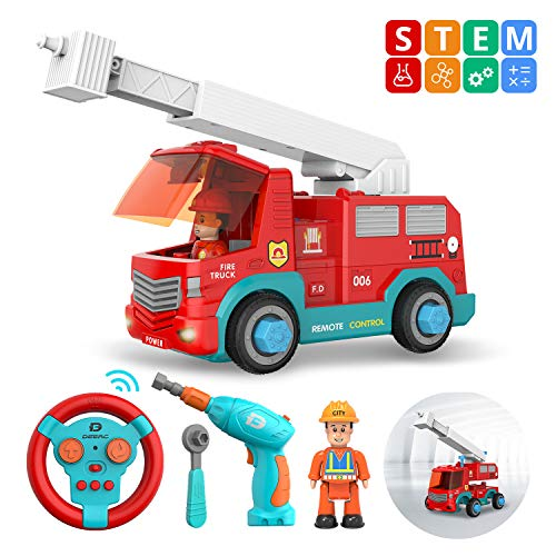 DEERC Take Apart Toys RC Cars for Kids with 2.4GHz Remote Control - STEM Build Your Own Fire Truck Toys with Electric Drill, Lights and Music - Construction Toy Gifts for Boys and Girls