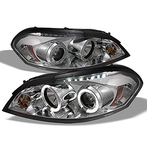 For Chevy Impala Monte Carlo Chrome Clear Halo Ring Projector Replacement Headlights Left/Right Lamps (Projector Impala Headlights)