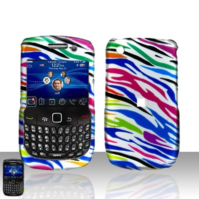 Rainbow Zebra Rubberized Snap on Hard Skin Faceplate Cover Case for Blackberry Curve 8520 8530 + Microfiber Pouch (Curve Rainbow Zebra Cover)