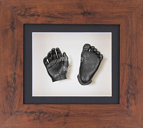 BabyRice 3D Baby Boy Casting Kit Mahogany Effect Frame Pewter Foot Casts by BabyRice