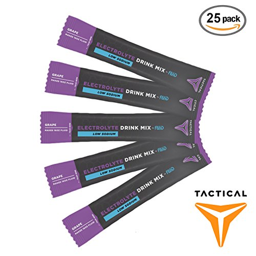 Fluid Tactical Tactical Hydration, Instant Electrolytes, Reduce Fatigue, Prevent Dehydration, Eliminate Cramps (Grape (Low Sodium), 25 Stick Packs)