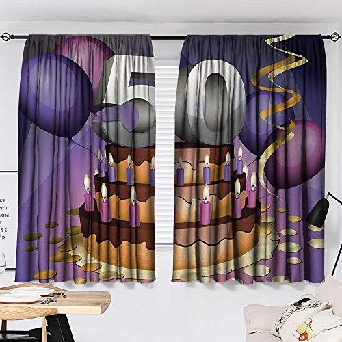 Jinguizi 50th Birthday Curtain Panels Big Creamy Cake with Many Candles and Numbers Balloons Ribbons Art Print Soft Darkening Curtains Multicolor W55 x L39 by Jinguizi (Image #1)