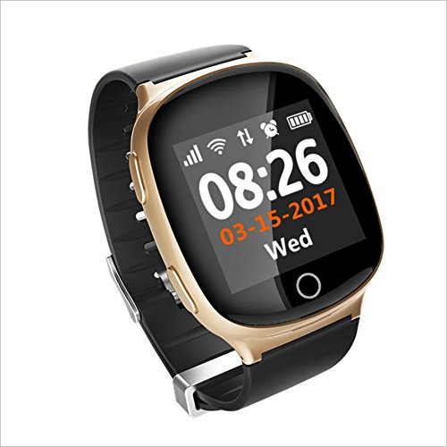Lblll D100 Elderly Smart Phone Watch GPS Positioning Heart Rate Monitoring Voice Intercom,Champagnegold