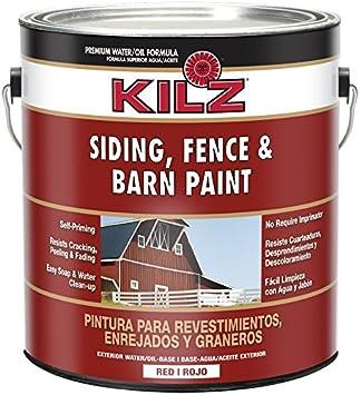 KILZ Exterior Siding, Fence, And Barn Paint, Red, 1 Gallon