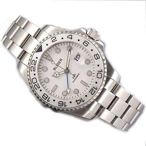 Sapphire Bliger 43mm GMT Ceramic Bezel White dial Mechanical Men's Watch Automatic Movement BL199 ()