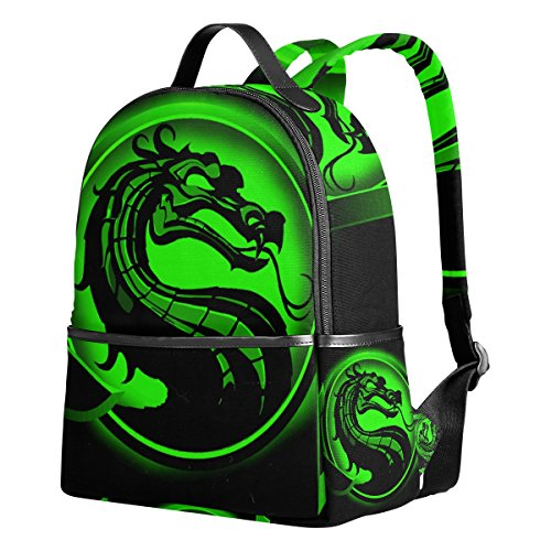 Reptile Mortal Kombat Costumes (Dragon Print 1 Unisex Rucksack Canvas Satchel Casual Daypack ,School College Student Backpack)