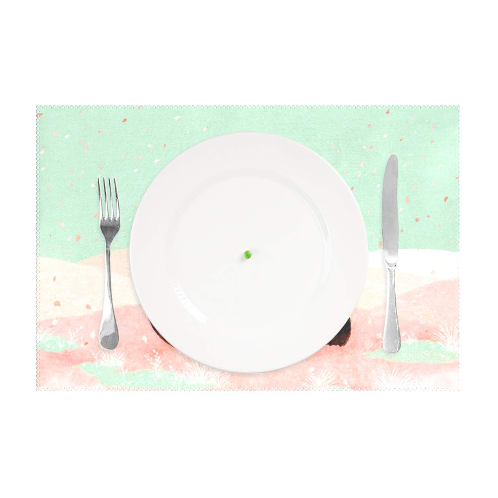 jiajufushi A Row of Bamboo Placemat Non-Slip Washable Place Mats,Heat Resistant Kitchen Tablemats