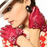 WARMEN Sexy Genuine Nappa Leather Backless Gloves with Pearl Big Bow (L, Red)