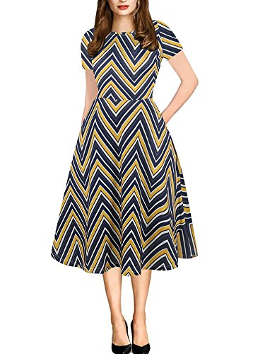 oxiuly Women's Round Neck Stripe Casual Pockets Tunic Party Cocktail Work Swing Dress OX262 (M, Blue Stripe)