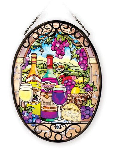 Amia 41085 Hand Painted Glass 5-1/2 by 7-Inch Oval Sun Catcher, Wine Country Design, Medium