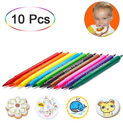 Food coloring Pens, Dual Tip Food Grade Edible Marker, Gourmet Writers for Decorating Fondant, Cakes, DIY Cookies, Frosting, Easter Eggs, Gum paste and Pastries, Thick Tip and Fine Tip, 10 Colors