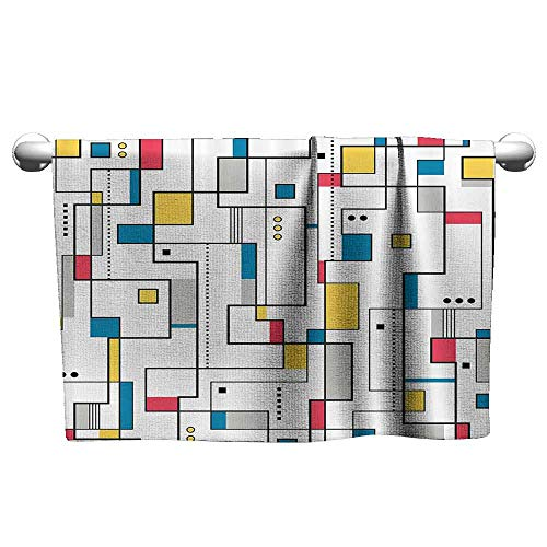 Abstract Home Decor Collection Soft Bath Towel Abstract Pattern Geometric Minimalist Modern Contemporary Art Image W14 x L27 Teal Yellow White Black