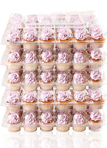 (5 Pack) FillnGo Carrier Holds 24 Standard Cupcakes - Ultra Sturdy Cupcake Boxes | Tall Dome Detachable Lid | Clear Plastic Disposable Containers | Storage Tray | Travel Holder | Also Regular Muffins