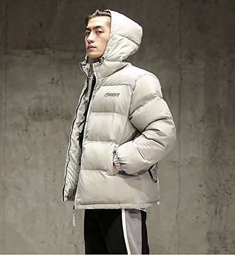 capucha de M exteriores l prendas los con acolchado de gray chaqueta cremallera 2XL con vestir casual de cálido invierno algodón hombres espesar XTqqU5
