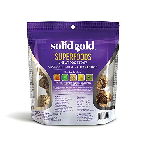Solid Gold Superfood Dog Treats For Small & Toy Breeds; Grain Free Chicken, Coconut Milk & Chia Seed; 4Oz