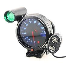 Qiilu Car Tachometer Gauge Kit 3.75 Inch 12V 11000 RPM Blue LED Auto Meter with Shift Light