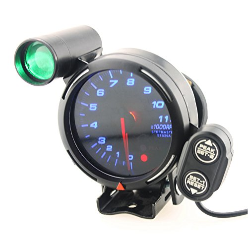 Qiilu 3.75 Inch 12V Car Tachometer Gauge Kit 11000 RPM Blue LED with Shift Light