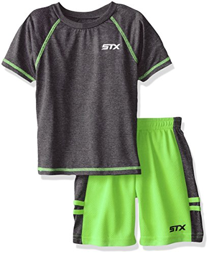 STX Big Boys' 2 Piece Performance Athletic T-Shirt and Short Set, Neon Lime, 8